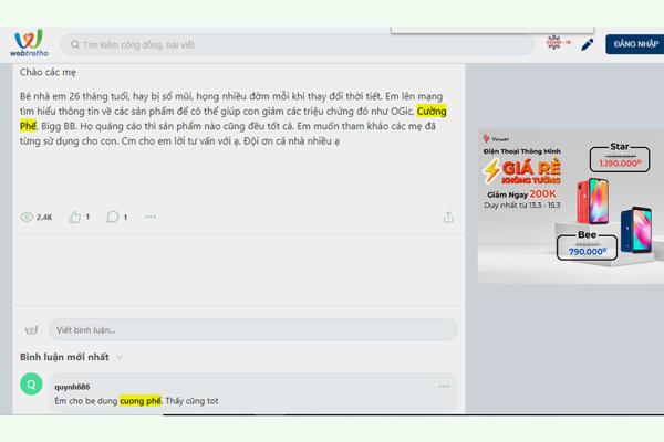 Review về Cường Phế trên Webtretho