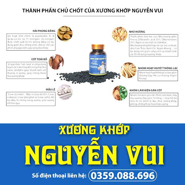 Các thành phần thảo dược có trong sản phẩm Xương Khớp Nguyễn Vui