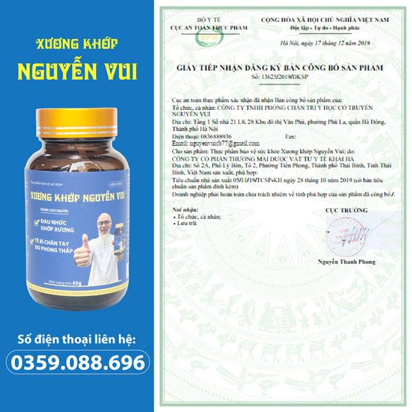 Xương khớp Nguyễn Vui cấp phép lưu hành chính thức bởi Cục an toàn thực phẩm - Bộ Y Tế (Số: 13625/2019/ĐKSP).