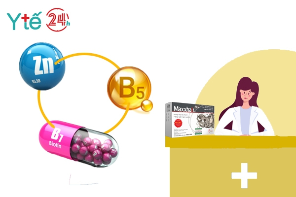 Maxxhair - Quy tụ cả 3 thành phần: Kẽm, Vitamin B5 và Biotin