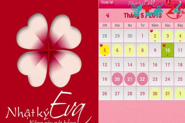Phần mềm tính ngày rụng trứng cho Android - Nhật ký Eva