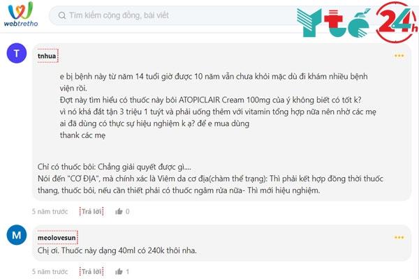 Review về thuốc bôi Atopiclair trên Webtretho