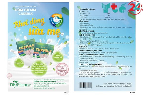 Giấy xác nhận nội dung quảng cáo cốm lợi sữa Curmilk do Bộ y tế cấp