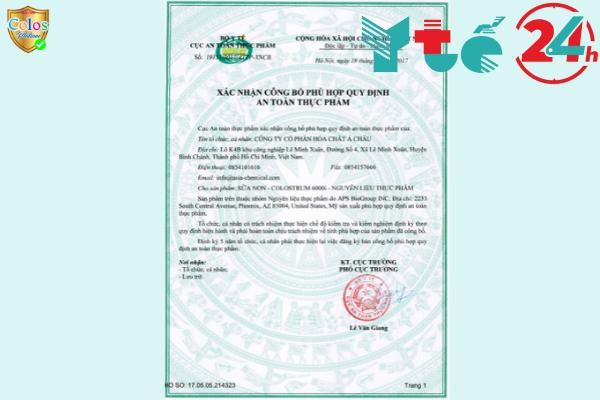 Bộ Y tế đã chứng nhận Colos Platium 1 được phép lưu hành trên toàn quốc