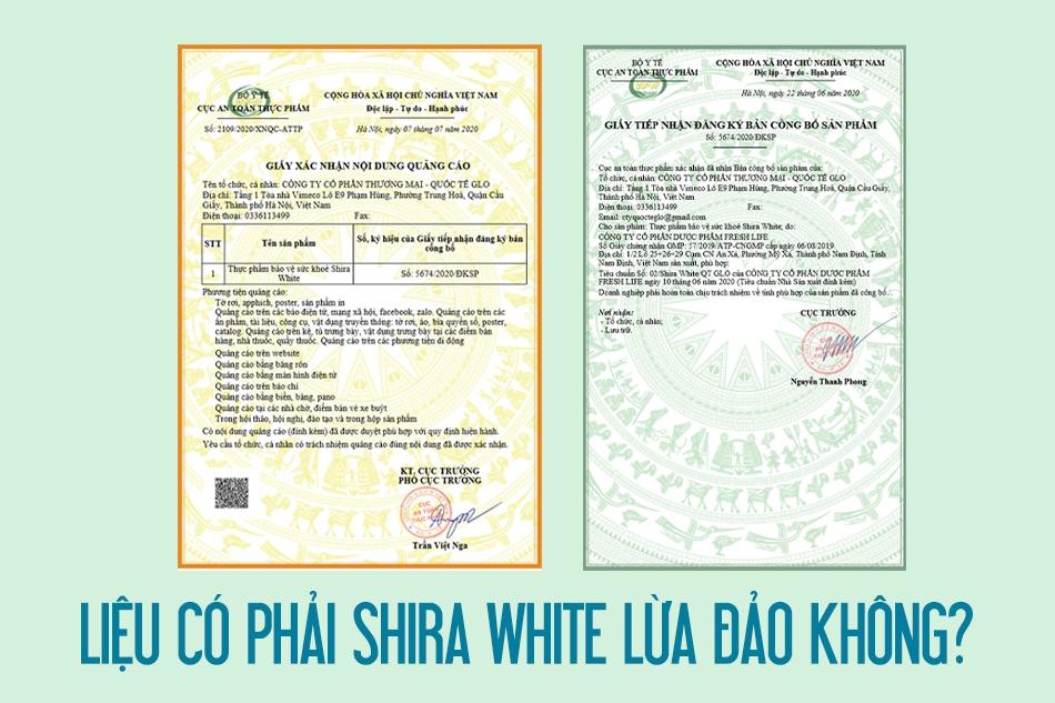 Giấy chứng phép lưu hành trên thị trường của Shira White