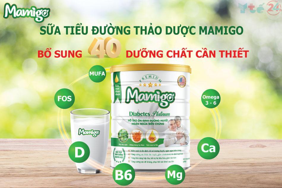 Mamigo Diabetes Platinum chứa nhiều dinh dưỡng cần thiết cho người bệnh tiểu đường