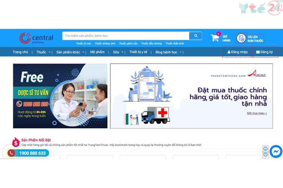 Giao diện của Trung Tâm Thuốc Central Pharmacy